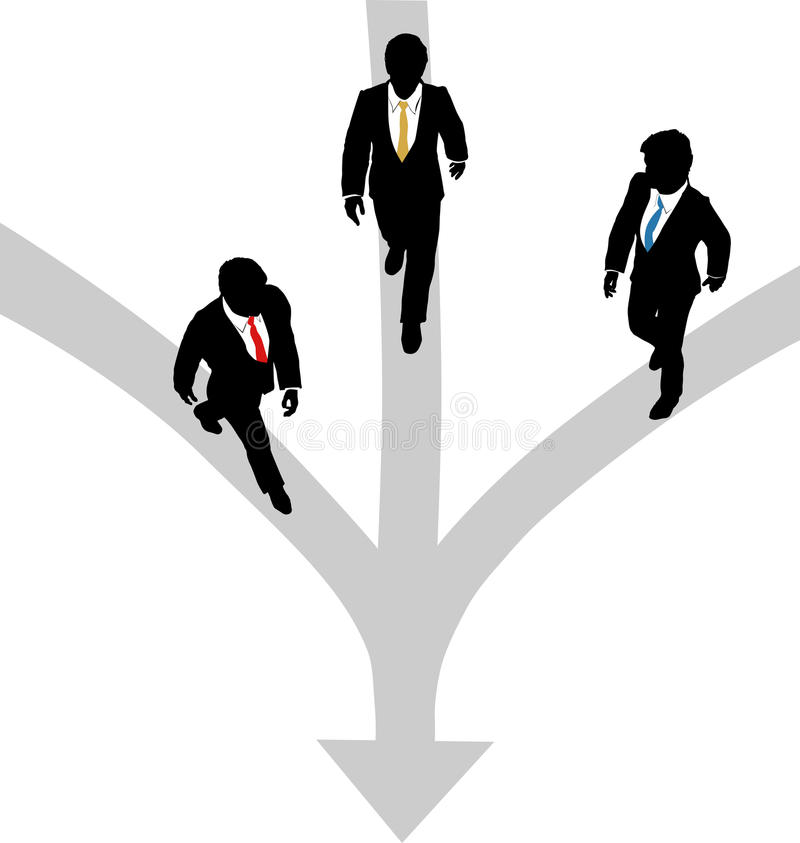 Free Business Men Walk 3 Paths Together Toward One Stock Images - 25938844