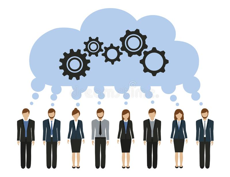 Business men and women develop a common idea with gears. Vector illustration EPS10 royalty free illustration
