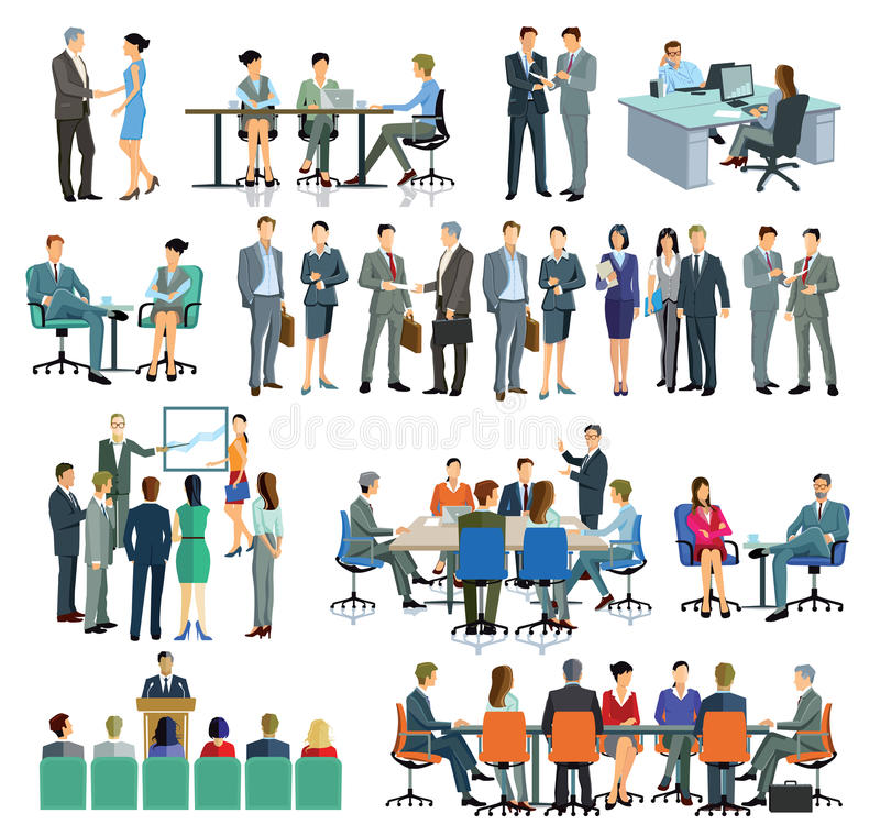 Business men and women interacting royalty free illustration
