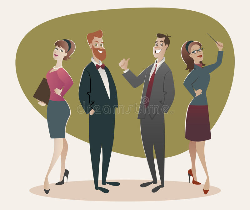 Business men and women proud of their success. Cartoon retro style. 50`s and 60`s royalty free illustration