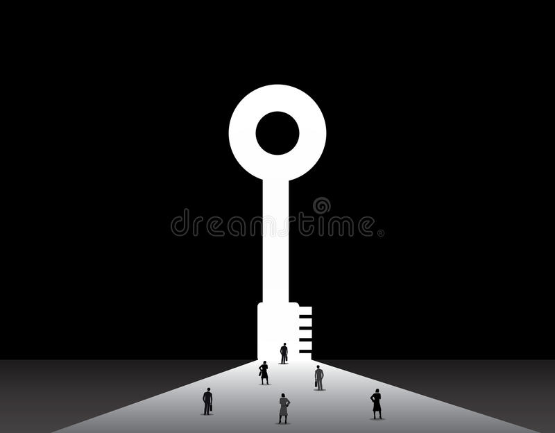 Business men and women standing front of big success key door. Nicely dressed businessmen and businesswomen standing, thinking, dreaming, planning in front of stock illustration