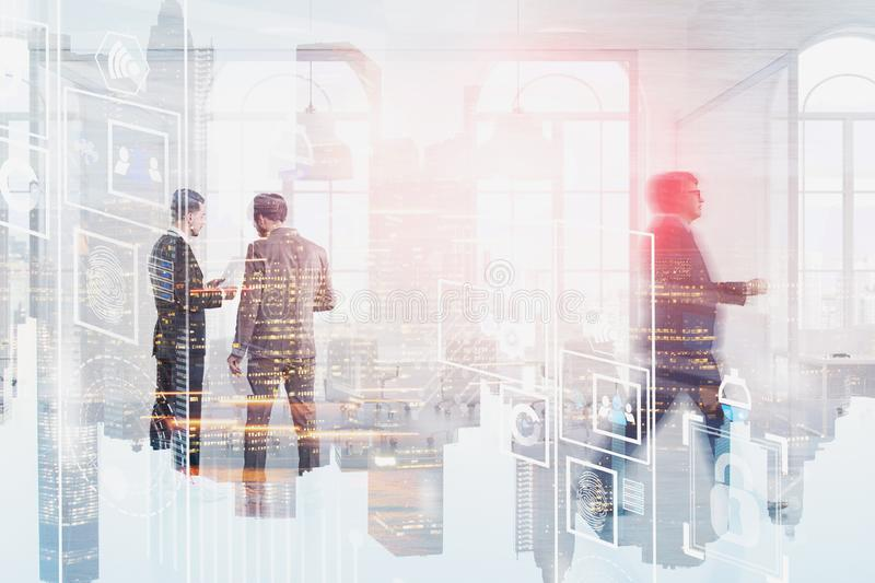 Business men working, digital interface royalty free stock photography