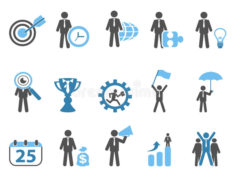 Business metaphor icons set blue series royalty free illustration