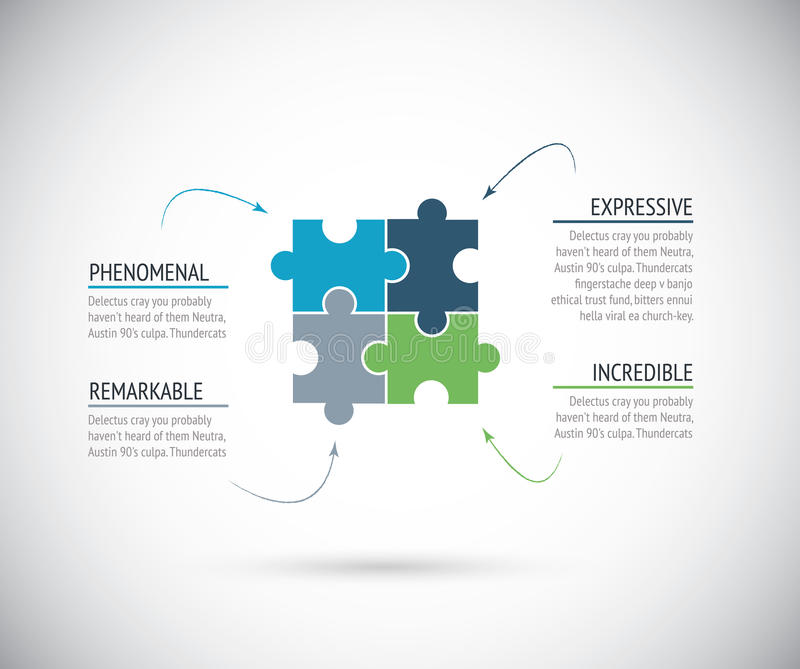 Business metaphors, four puzzle pieces connection. stock illustration