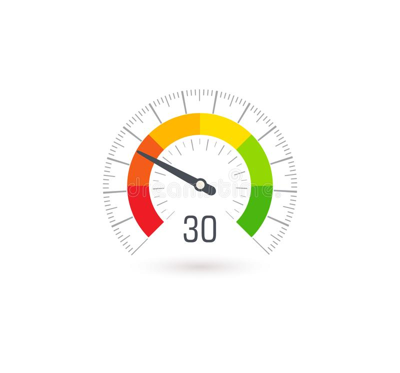 Business meter, indicator icon with colorful segments. Infographic for business rating and quality control, vector stock illustration