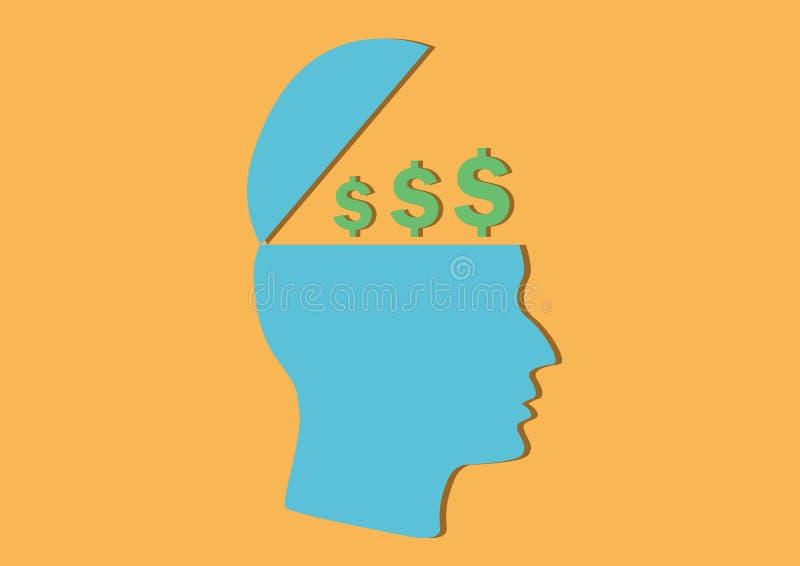 Business mindset of making money design. Design vector of illustration businessman mindset with currency symbol inside head vector illustration