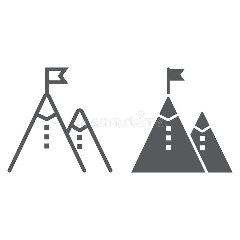 Business Mission line and glyph icon, development. And business, mountain sign vector graphics, a linear pattern on a white background, eps 10 vector illustration
