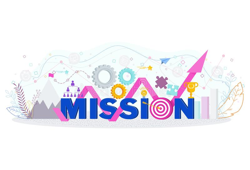 Business mission statement. Word mission typographic concept. vector illustration
