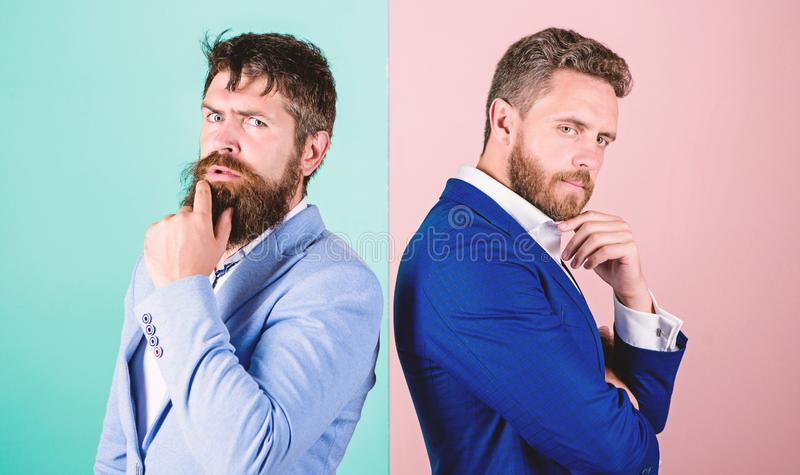 Business misunderstanding. Business team work on solving problem. Different point of view. Opinion difference. Businessmen thoughtful face thinking about royalty free stock photos
