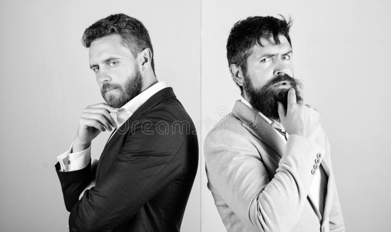 Business misunderstanding. Business team work on solving problem. Different point of view. Opinion difference. Businessmen thoughtful face thinking about stock photography