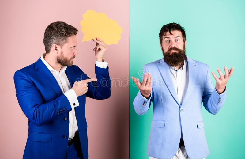 Business misunderstanding. Business team work on solving problem. Share opinion speech bubble copy space. Businessmen. Thoughtful face thinking about business royalty free stock photo