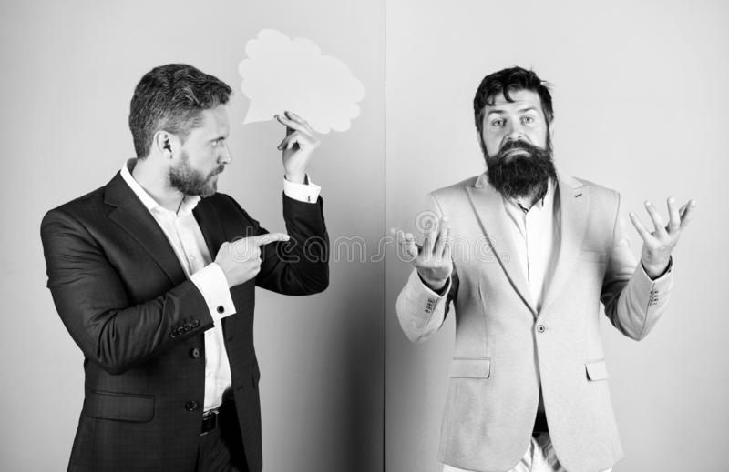 Business misunderstanding. Business team work on solving problem. Share opinion speech bubble copy space. Businessmen. Thoughtful face thinking about business royalty free stock photography