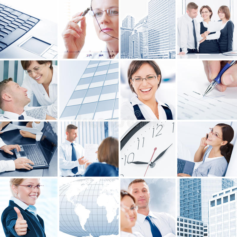 Business mix. Business theme photo collage composed of different images stock photo