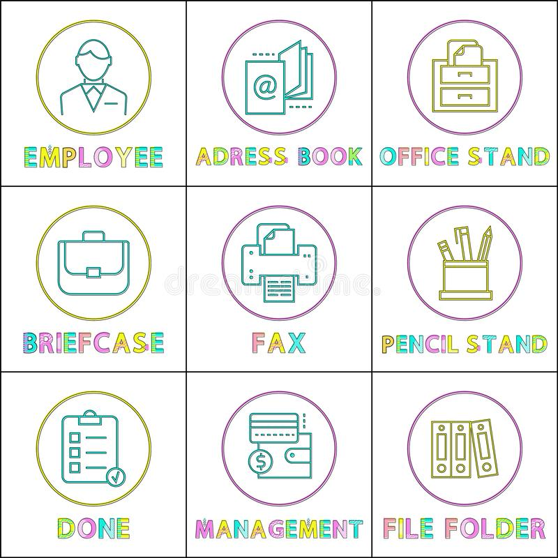 Business Mobile App Icons Linear templates Set. Modern application elements, outline buttons with symbols, isolated cartoon flat vector illustrations vector illustration