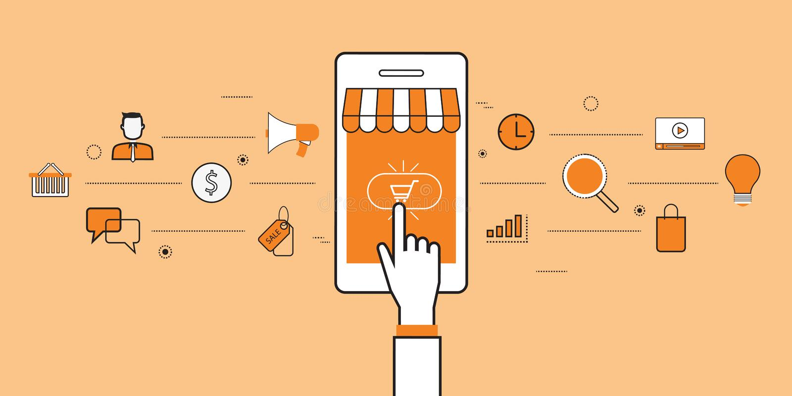 Business mobile online shopping and e-marketing vector illustration