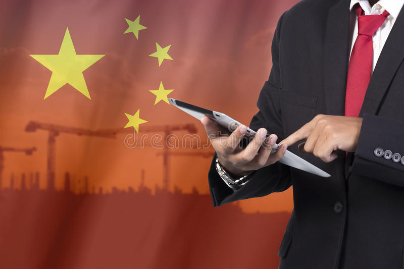 Business and mobility communications concept. Chaina Flag Background stock photos