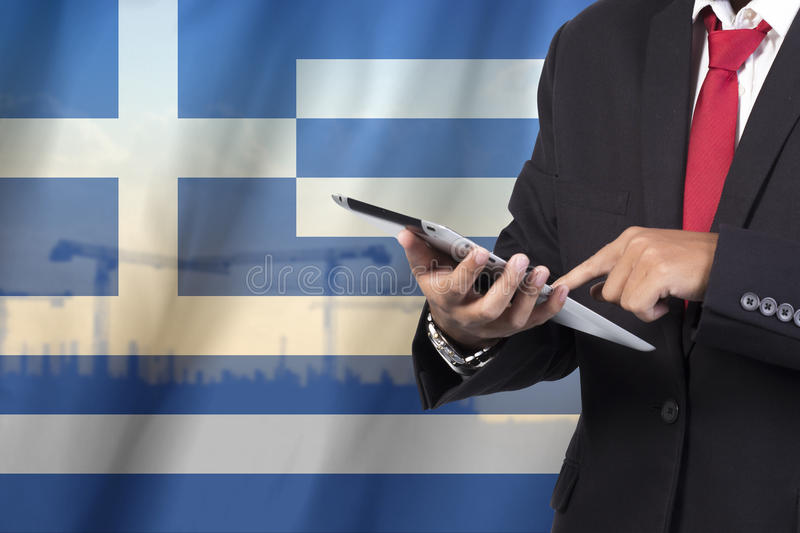 Business and mobility communications concept. Greece Flag background royalty free stock photo