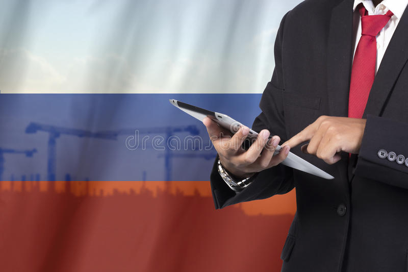 Business and mobility communications concept. Russia Flag Background royalty free stock photos