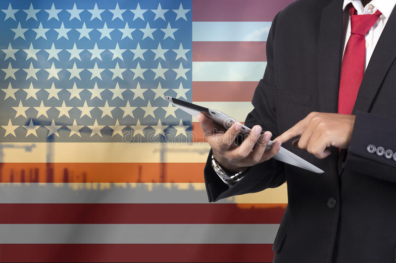 Business and mobility communications concept. USA Flag Background stock images