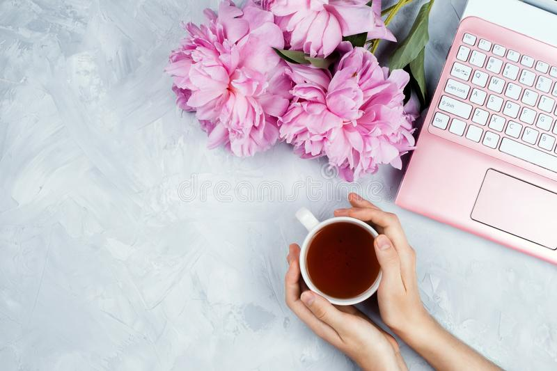 Business mockup with pink laptop, peonies bouquet and woman`s hands holding cup of warm tea royalty free stock photography