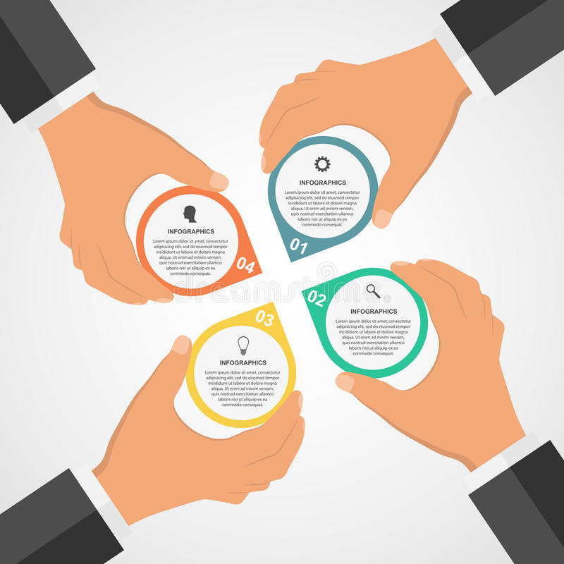 Business modern design flat infographic template with human hands holding the round blocks. vector illustration