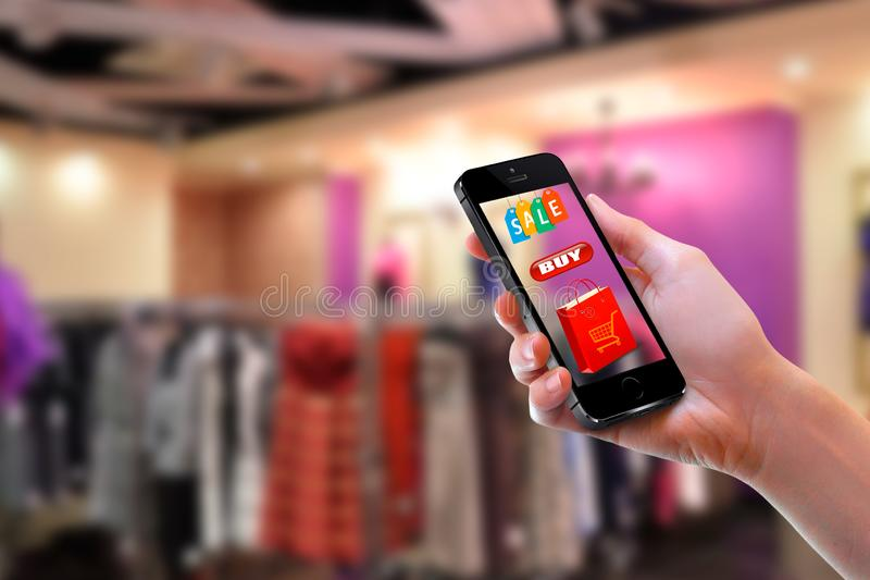 business and modern lifestyle concept: young woman shopping online stock photography
