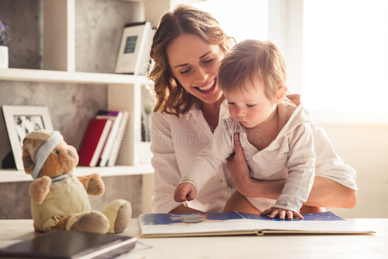 Business mom and baby boy stock images