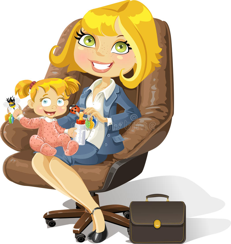 Download Business Mom With Baby Girl In An Office Chair Stock Illustration - Illustration: 24294003