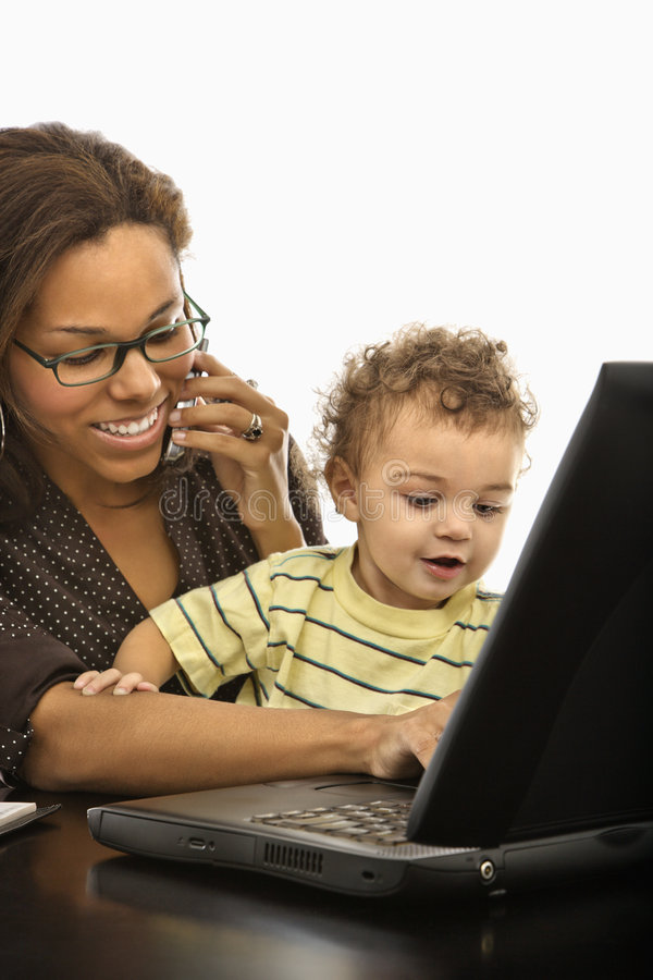 Business mom with child. stock photos