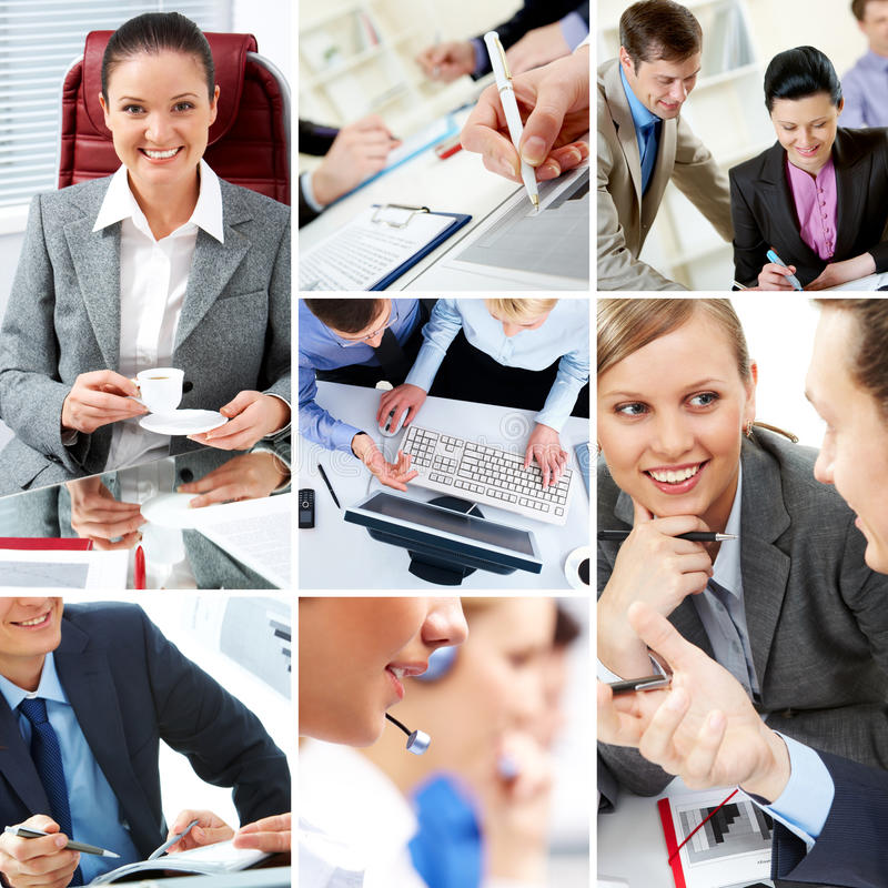 Business moments. Collage with businesspeople and teamwork moments in different situations royalty free stock photo