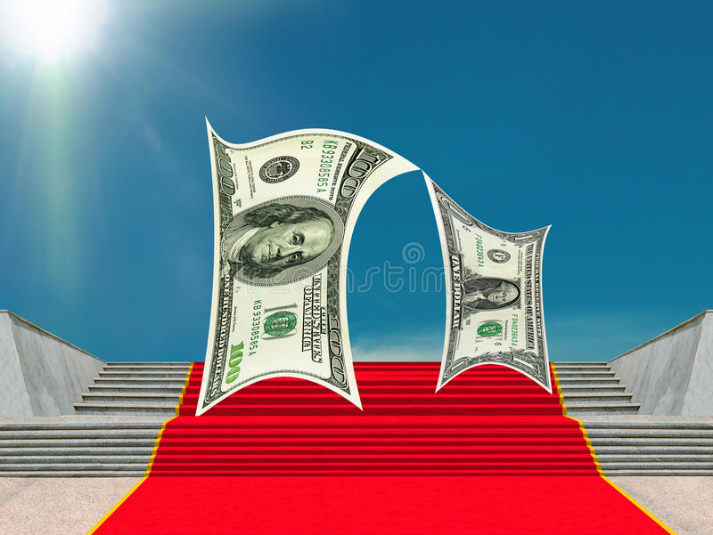 Business, money-characters, red carpet of success. royalty free stock photography