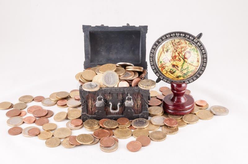 Business Money Concept Idea. Picture of a Business Money Concept Idea, Treasure Trunk and Money stock photos