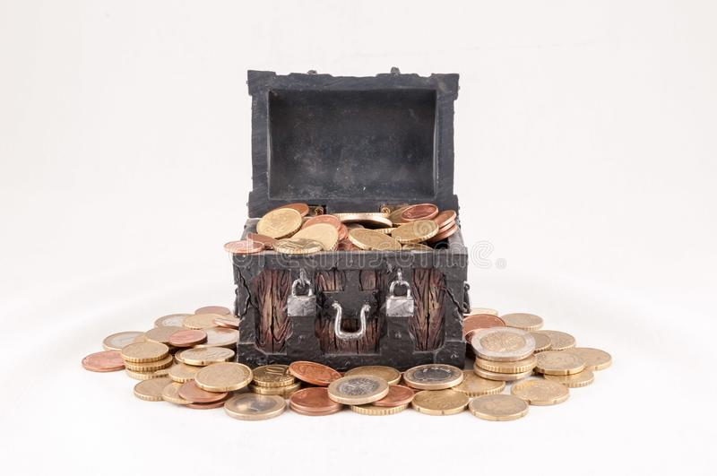 Business Money Concept Idea. Picture of a Business Money Concept Idea, Treasure Trunk and Money stock photography