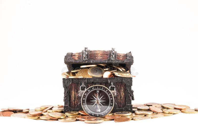 Business Money Concept Idea. Picture of a Business Money Concept Idea, Treasure Trunk and Money royalty free stock photos