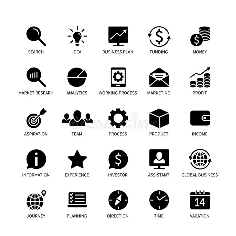 Business money contact icons marketing analysis time search idea income bank social media technology format logistics stock illustration