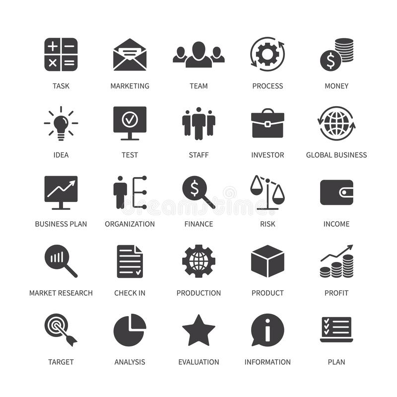 Business money contact icons marketing organization product analysis time search idea income bank social media stock illustration