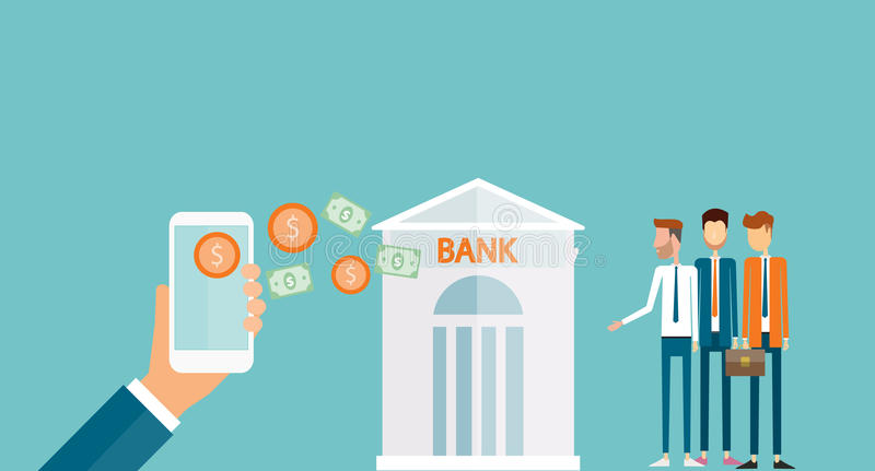 Business money transfer on mobile and business mobile banking concept. Business money transfer and mobile banking concept royalty free illustration