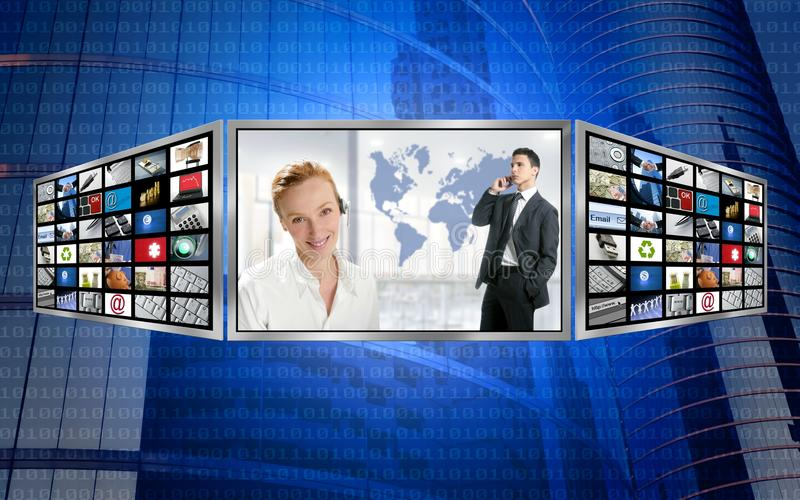 business monitor screen tech three world royaltyfri illustrationer