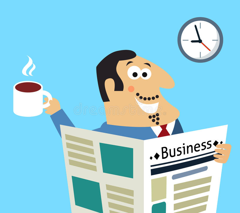 Download Business Morning Newspaper And Coffee Stock Vector - Illustration of cheerful, cappuccino: 39502694