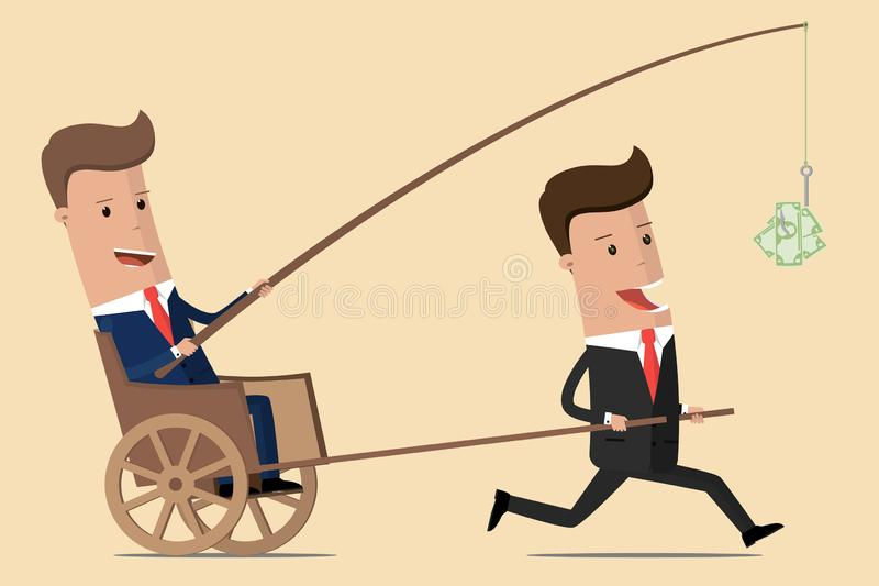 Business motivation. Boss holding dollar fishing rod. Financial driving force for employees. Managers and Director. Vector illustr stock illustration