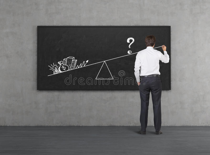 Business motivation. Businessman in room drawing business motivation on blackboard stock photo