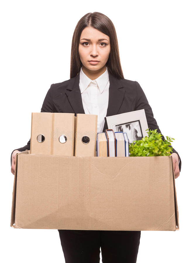 Business move. Business woman holding box with office items. isolated on white background royalty free stock images