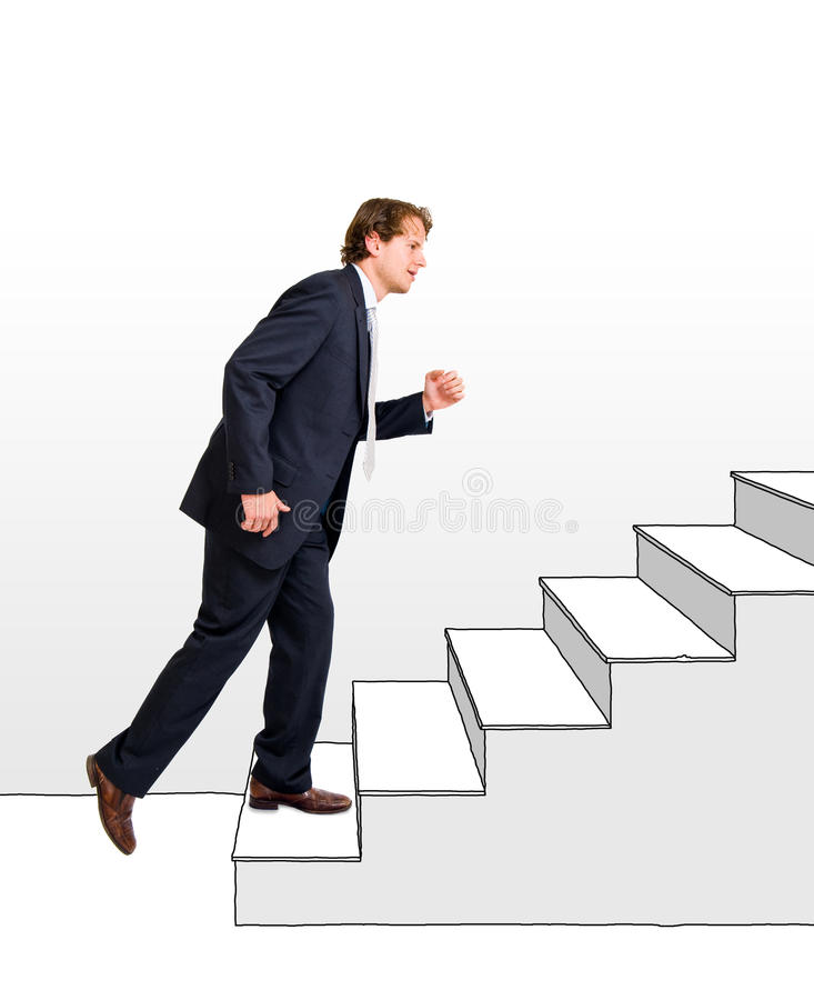 Business moving up. Conceptual image of a business moving up and making a career, one step at a time royalty free stock image