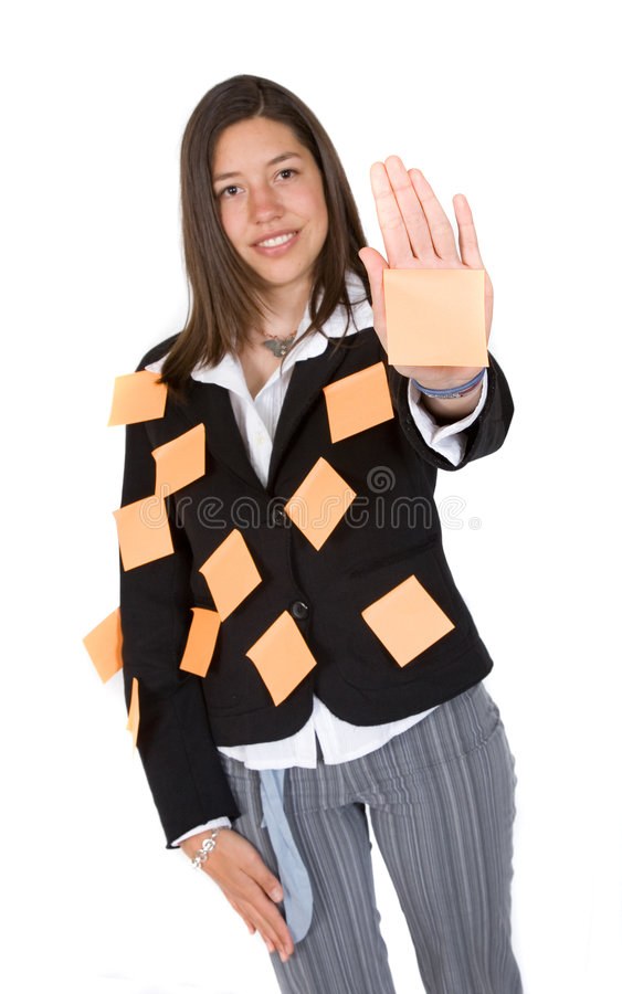 Download Business Multitasks - Woman With Post It Notes Stock Image - Image: 1348831