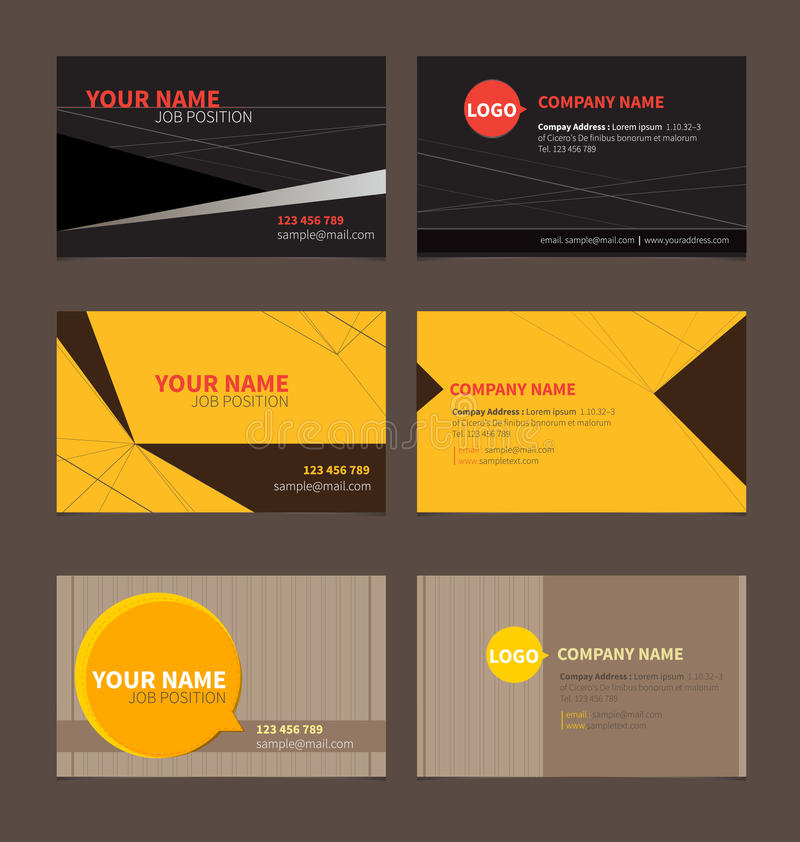 Business Name card. Template for business card on brown background stock illustration
