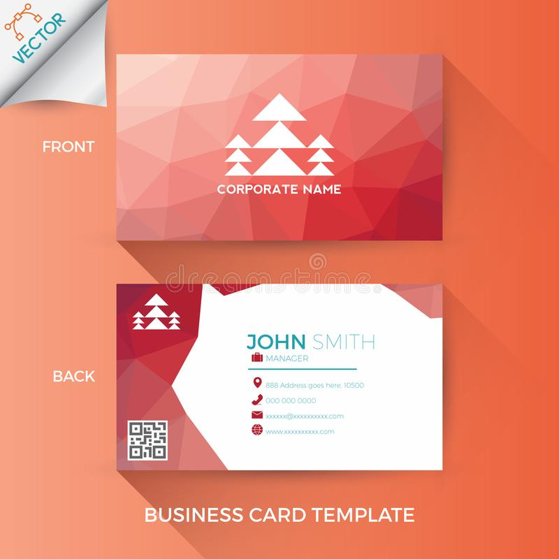 Business name card template. In creative, modern and clean style with front and back layout stock illustration