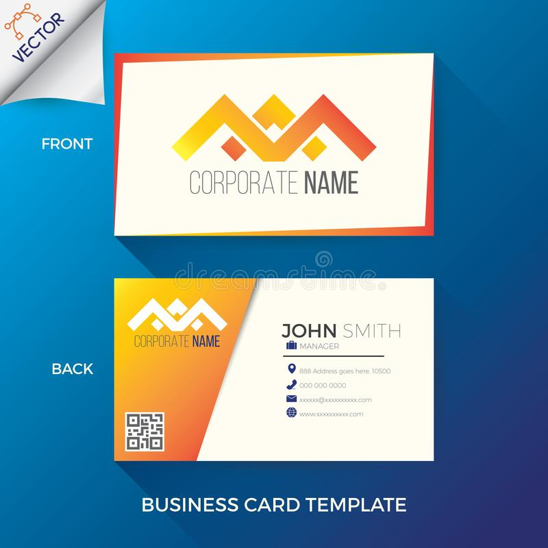 Business name card template. In creative, modern and clean style with front and back layout royalty free illustration