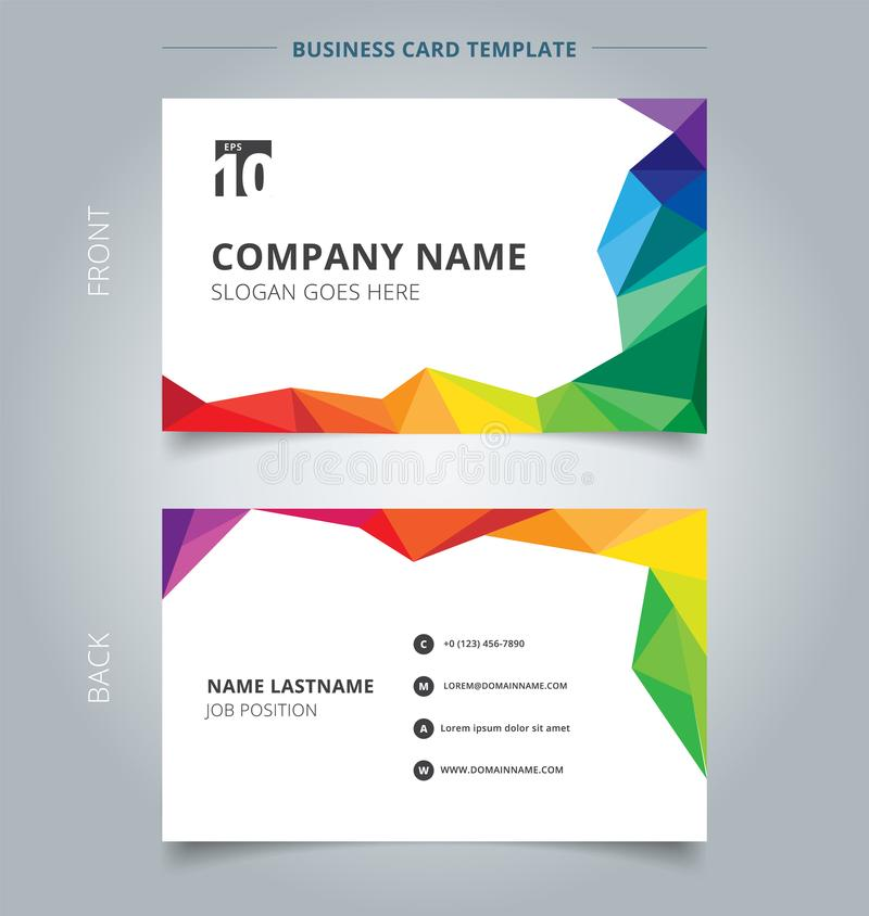 Business name card template design abstract colorful low polygon vector illustration