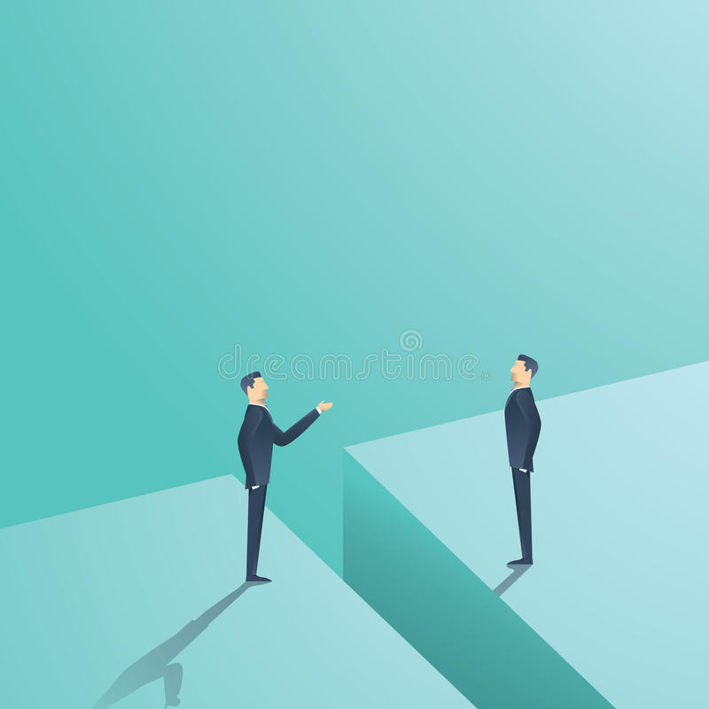 Business negotiation or communication vector concept. Two man having discussion, bargaining with gap between. Eps10 vector illustration royalty free illustration