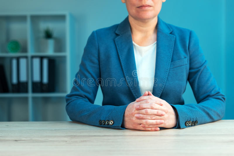 Business negotiation skills with female executive at office desk royalty free stock photos